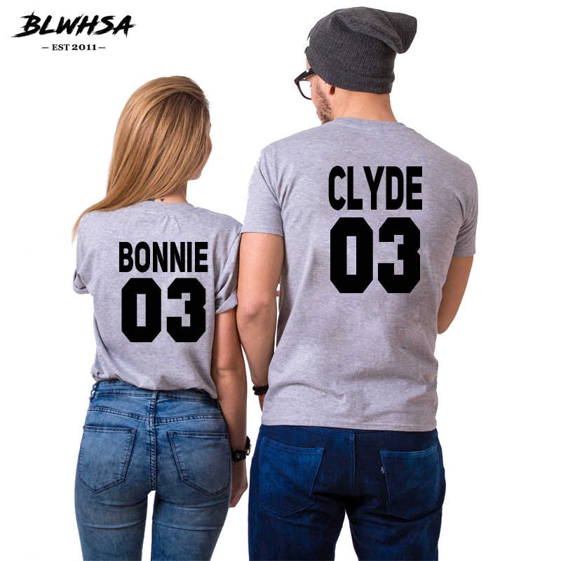 9d17e9a6a3 BLWHSA Bonnie Clyde 03 Couples T Shirt Women Causal Cotton Bonnie Clyde  Print Lovers Couples T