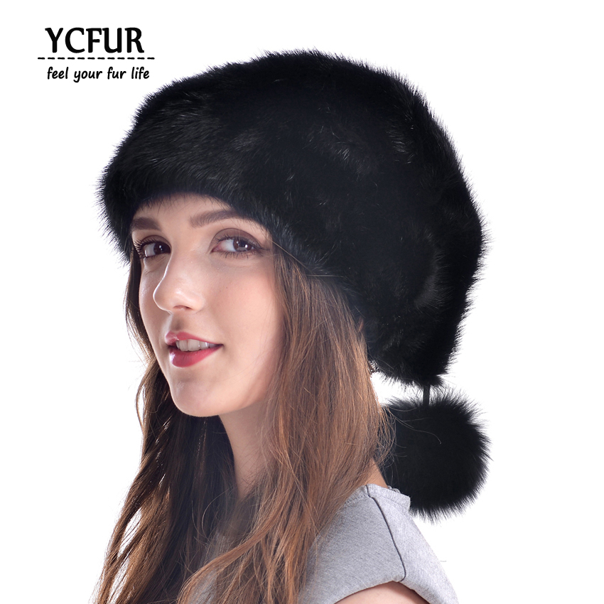 YCFUR Genuine Mink Caps Hats Winter Women Whole Piece Mink Skin Hat Cap With Fur Poms Hats Beanies Female Winter hm015 real genuine mink fur hat winter hats for women whole piece mink fur hats