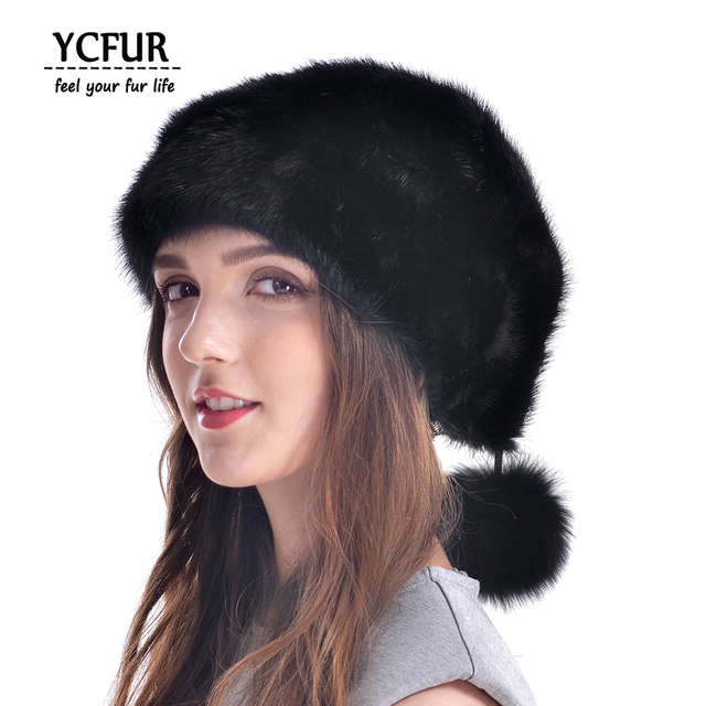 YCFUR New Style Christmas Hat Women Genuine Mink Fur Caps With Fur Pom Poms Beanies Winter 2016 Real Mink Hats Female