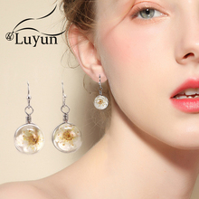 Luyun 2019 Fashion Jewelry Silver Plated Earrings Trendy Crystal Glass Flower Ornaments Womens