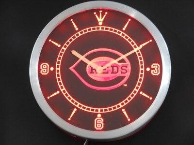 nc0565 Cincinnati Reds Neon Sign LED Wall Clock