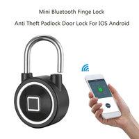 Mini Bluetooth Fingerprint Lock Waterproof IP65 Keyless Lock Unlock Anti Theft iOS Android APP control door cabinet padlock