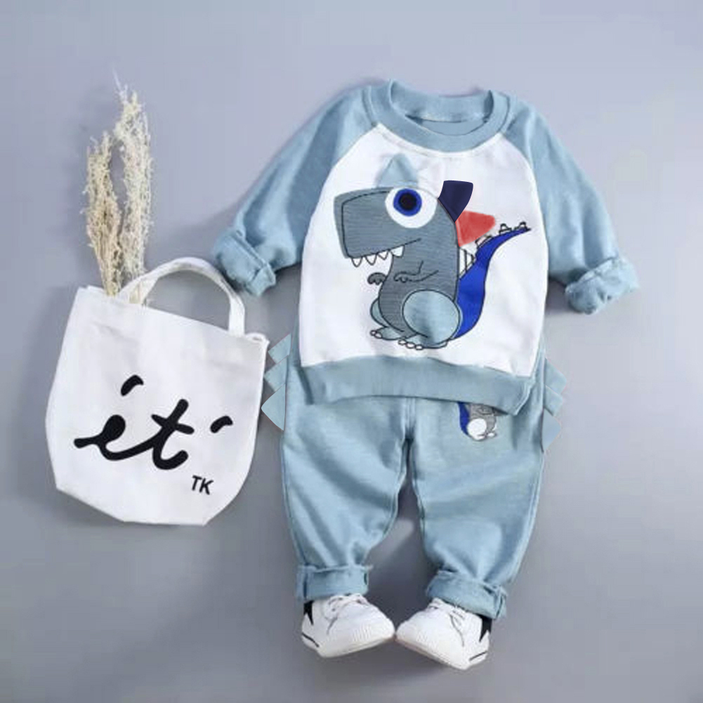 Winter Toddler Boys Clothing Child Cartoon Dinosaur Clothes Set Tops Trousers Long Sleeve Warm Children New Year's Suit t100 children sweater winter wool girl child cartoon thick knitted girls cardigan warm sweater long sleeve toddler cardigan