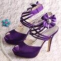 Wedopus MW682 Пользовательские Ручной Фиолетовый Сандалии Платформы Свадебные Туфли На Высоком Каблуке
