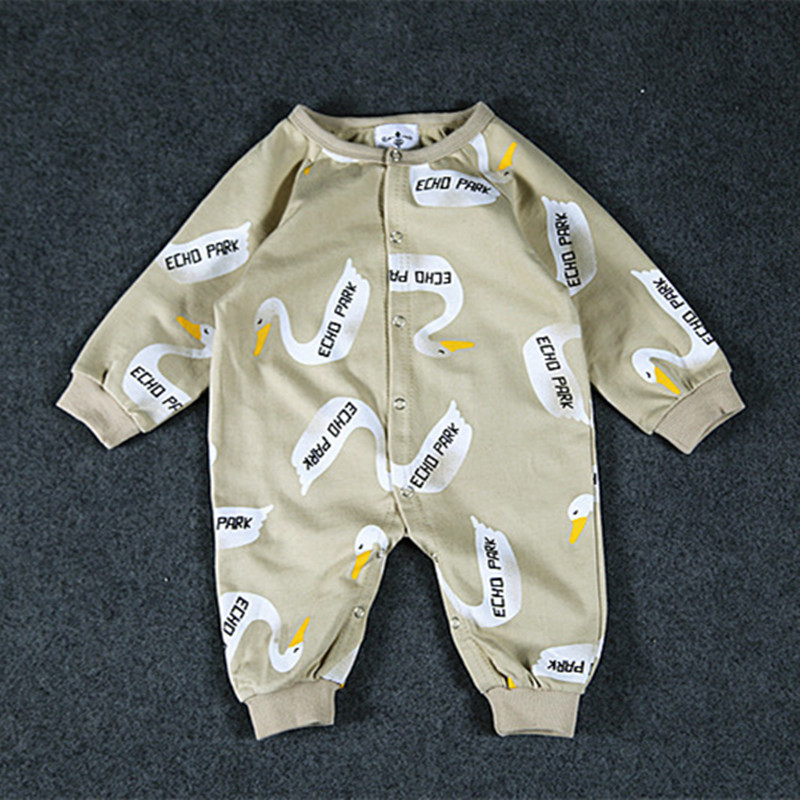 New Baby rompers swan print long sleeve Toddler Jumpsuit Infant jumpsuits newborn baby girls boys clothes newborn baby rompers baby clothing 100% cotton infant jumpsuit ropa bebe long sleeve girl boys rompers costumes baby romper