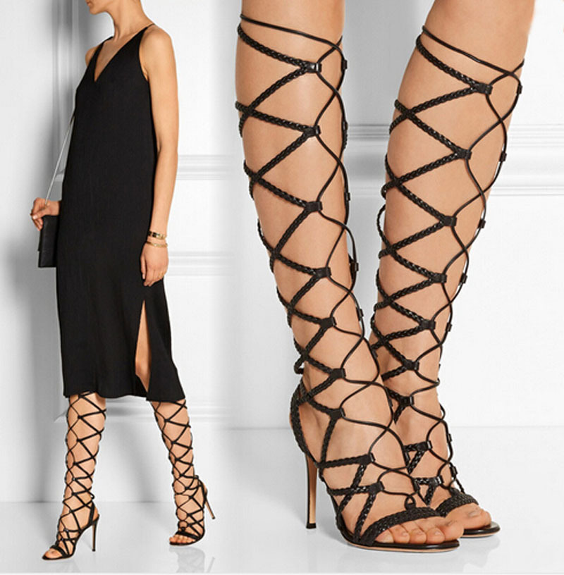Hot selling sexy lace up high heels summer women sandals open toe cut-outs gladiator sandals boots fashion Knee High boots shoes sexy open toe cut outs high heels women gladiator sandals black leather lace up thigh high boots woman botas size 35 43
