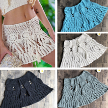 цена на 2019 Boho Crochet Tassel Beach Mini Skirt For Women White Beachwear Short Dress Lace Hollow See Through Slim Lace-Up Skirts