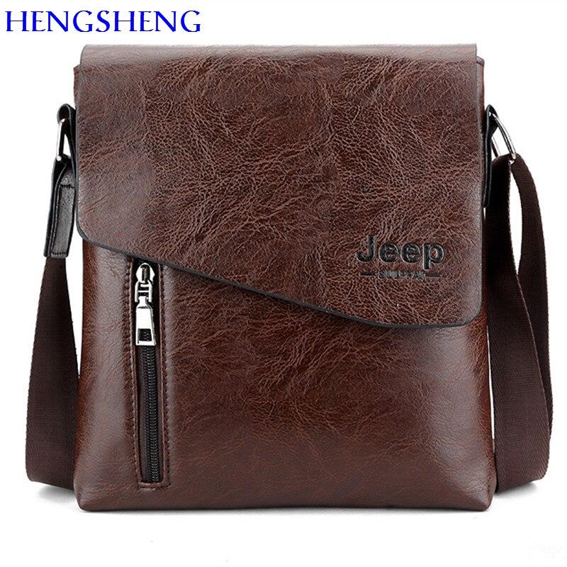 HENGSHENG Luxury PU font b leather b font men shoulder bags of JEEP font b leather