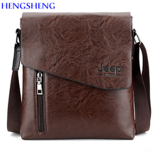HENGSHENG Luxury PU leather men shoulder bags of JEEP leather men messenger bag by cover open men leather bag men shoulder bags