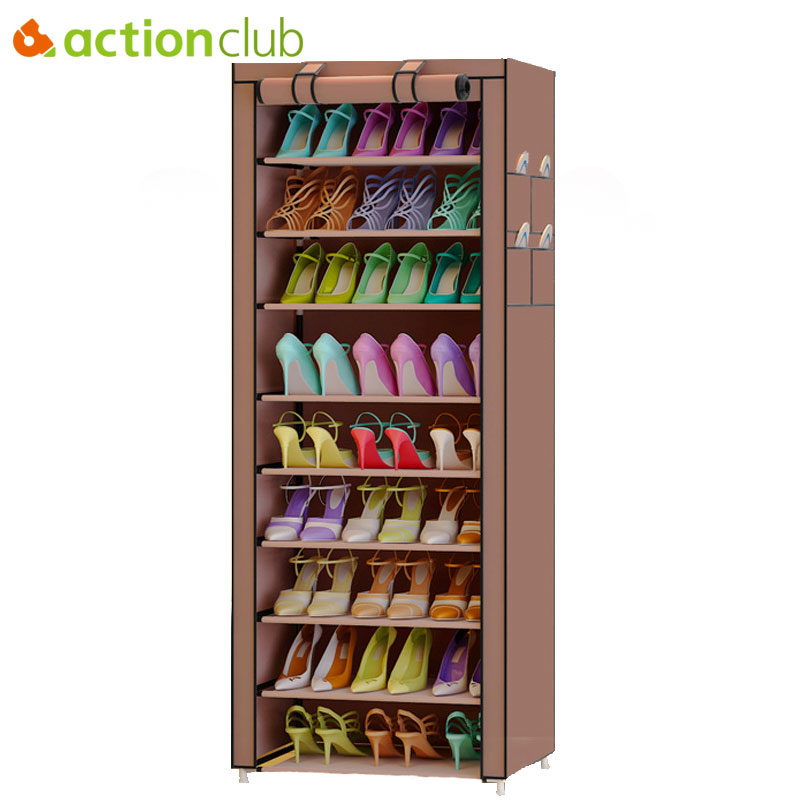 Actionclub 10 Layer Simple Oxford Shoes Storage Cabinet DIY Assembly Shoe Shelf Dustproof Moistureproof Large Capacity Shoe Rack