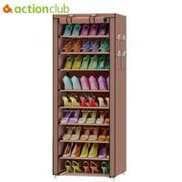Actionclub 10 Layer Simple Oxford Shoes Storage Cabinet DIY Assembly Shoe Shelf Dustproof Moistureproof Large Capacity Shoe Rack
