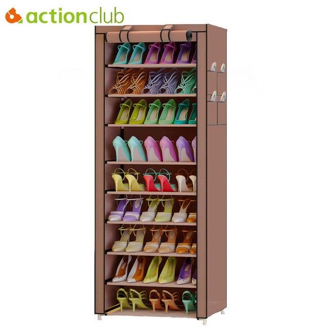 Actionclub 10 camada simples oxford sapatos armário de armazenamento montagem diy sapato prateleira dustproof moistureproof grande capacidade sapato rack