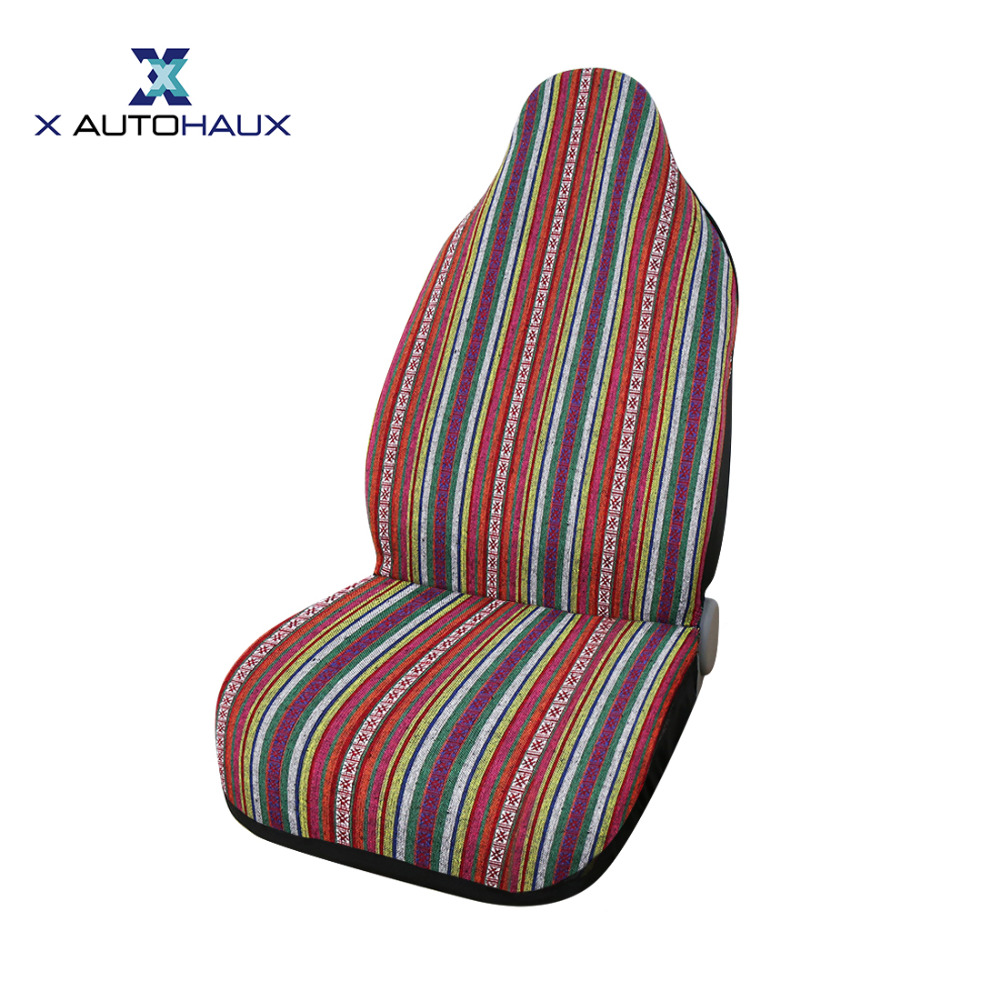 <font><b>X</b></font> Autohaux One Universal All Seasons Baja Blanket Ethnic Bucket Auto Front Seat Cover For Car Automotive Decoration Seat Covers