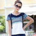 Verão Breve Elegante Retro Cópia Do Vintage de Manga Curta Mulheres T camisa Plus Size M-4XL T-shirt Ocasional Das Senhoras Slim a Menina Tops 30513
