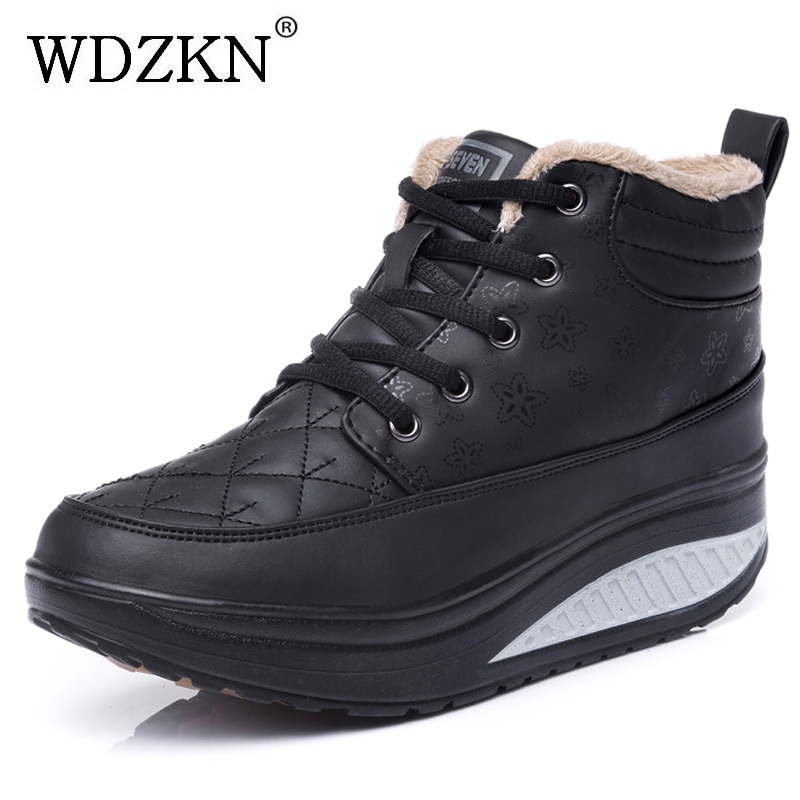 WDZKN 2017 New Short Plush Women Boots Fashion Round Toe Wedge Platform Ankle Boots For Women Winter Warm Casual Shoes HA003 nayiduyun women genuine leather wedge high heel pumps platform creepers round toe slip on casual shoes boots wedge sneakers