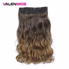 ValenWigs Long Wavy One Clip In On Piece Ombre Natural Color Women Synthetic Heat Resistant Wigs 5 Clips Hairpiece