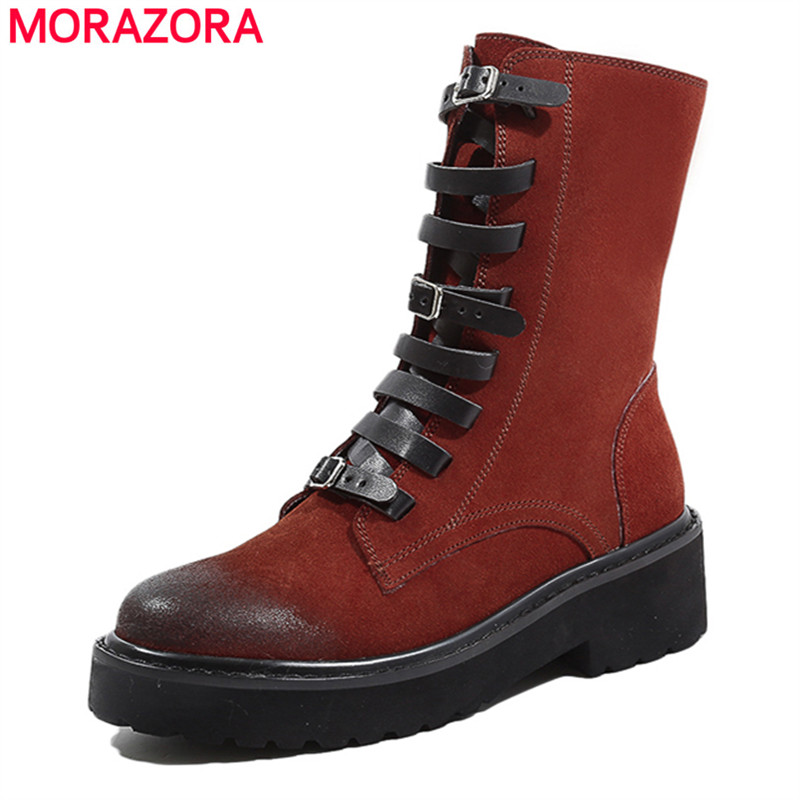 MORAZORA 2018 hot sale genuine leather boots women lace up fashion punk autumn ankle boots winter platform shoes woman size 42 morazora 2018 new arrival genuine leather ankle boots for women lace up zipper autumn boots fashion punk shoes woman black