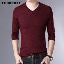 Бренд COODRONY, свитер для мужчин, уличная одежда, Повседневный пуловер с v-образным вырезом, для мужчин, приталенная Вязанная одежда, для мужчин, для осени и зимы, шерстяные свитера 91057