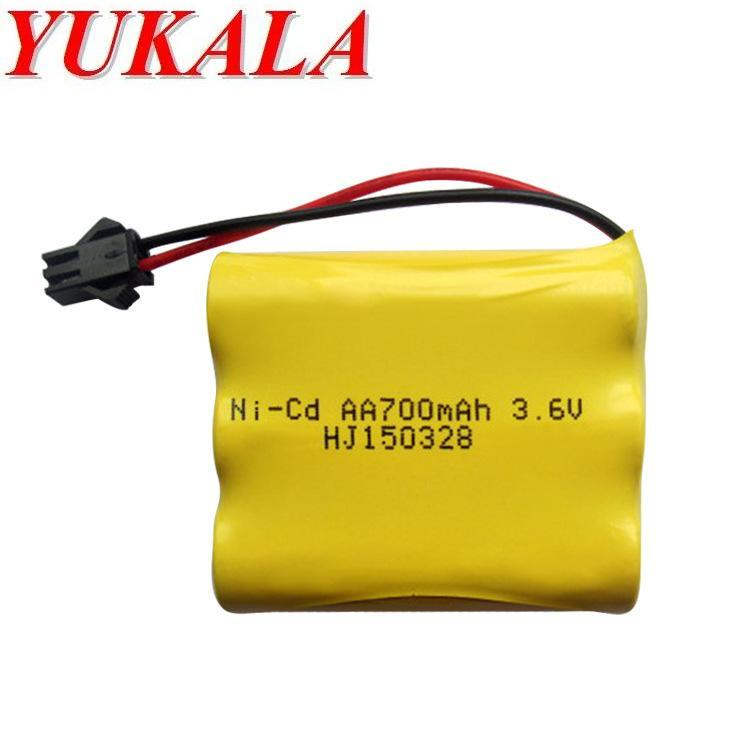 YUKALA 2pcs SM plug 3.6v 700 mAh Ni-CD AA battery for RC car RC tank RC boat free shipping yukala ft012 2 4g rc racing boat hq734 rc car 11 1v 2700 mah li polymer battery