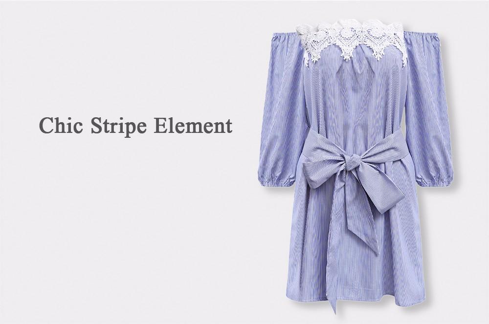 VESTLINDA Off Shoulder Blue Striped White Applique Mini Dress Women Slash Neck Lantern Sleeve Casual Sexy Short Dress With Belt 8