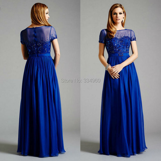 2015 New Arrival Prom Dress With Short Sleeves Flowing Evening Gown