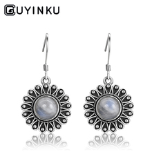 GUYINKU New Listing 7MM Round Natural Moonstone Peacock Flower Pendant Earrings 925 Sterling Silver Jewelry Party Gifts