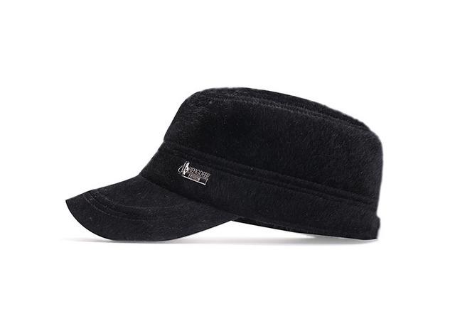 1ee40bcd3c1ee Winter Baseball Cap Men s Warm Faux Fur Flat Hats with Earflaps Z-3986