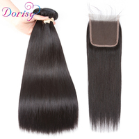 Dorisy Brazilian Human Hair Weave 3 Bundles With Closure 100 Remy Brazilian Straight Hair Bundles Extensions