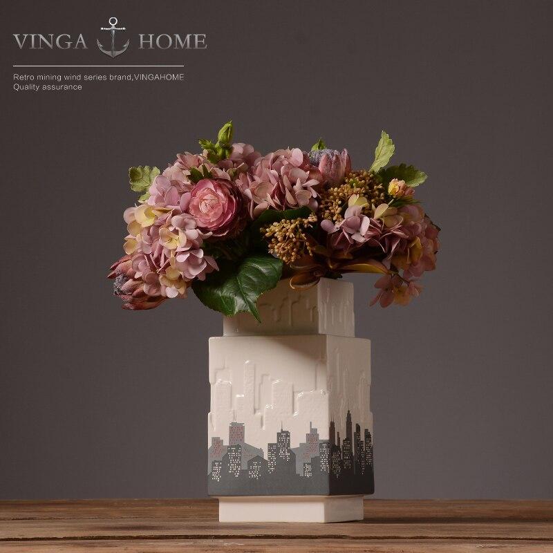 concise ceramic fashion City skyscrapers flower vase pot home decor handicraft crafts room wedding decoration porcelain figurine