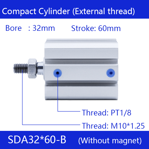 SDA32*60-B Free shipping 32mm Bore 60mm Stroke External thread Compact Air Cylinders Dual Action Air Pneumatic Cylinder стоимость