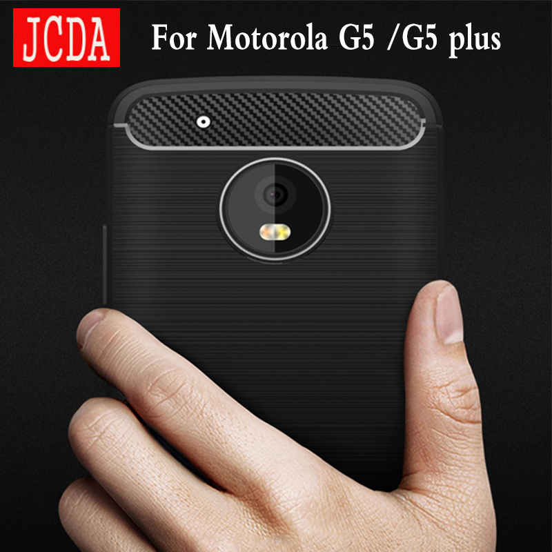 JCDA Brand For <font><b>Motorola</b></font> moto <font><b>G5</b></font> plus <font><b>phone</b></font> Case bag Carbon Fibre Brushed TPU soft protective <font><b>Smart</b></font> back cover shell Shockproof