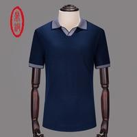 DINGTONG High Quality New Casual Mens Polo Homme Camisas Short Sleeve 100 Silk Polo Shirt Men