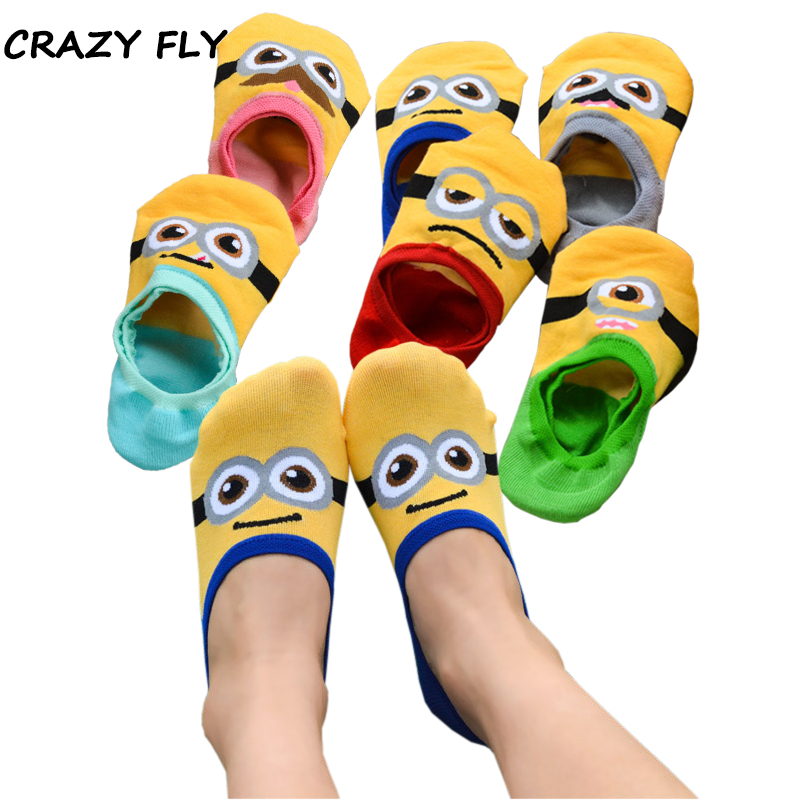 CRAZY FLY Summer New Fashion Cotton Cartoon Women/Man Non-slip Invisible   Socks   Yellow Cartoon Creative Harajuku Funny   Socks