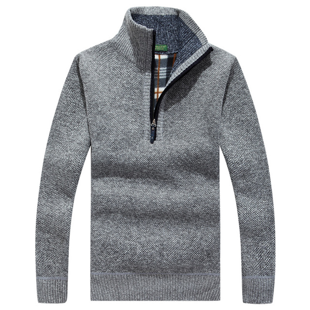 2016 New design autumn & winter male stand collar sweater solid thick full sleeve pullovers knitted sweaters