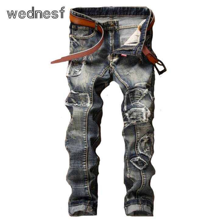 ФОТО #1948 Patchwork Punk Fake designer clothes Fashion Vintage blue Straight Homme Mens biker jeans Skinny ripped jeans for men