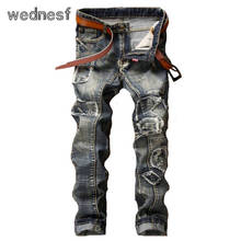 #1948 Лоскутное Панк Поддельные дизайнер одежды Год Сбора Винограда Способа синий Прямые Homme Мужские байкерские джинсы Тощий рваные джинсы для мужчин