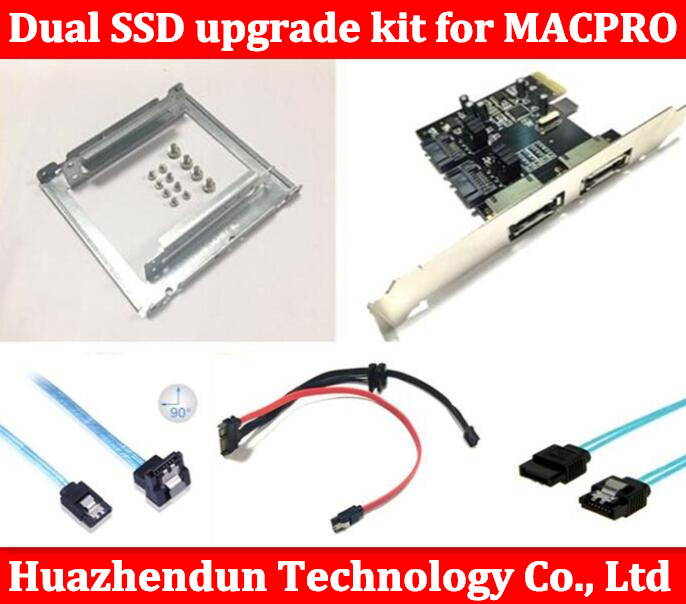 New Dual SSD upgrade kit for MAC PRO 1.1-5.1 inclued (dual ssd tray/ sata cable/ sata3 card /SATA3.0 Hard Disk Data Cable) new and retail package for 00wg770 120g 3 5inch sata ssd