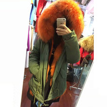 free shipping Orange fur jacket winter warm Mrs wolf fur inside big raccoon fur collar parka coats
