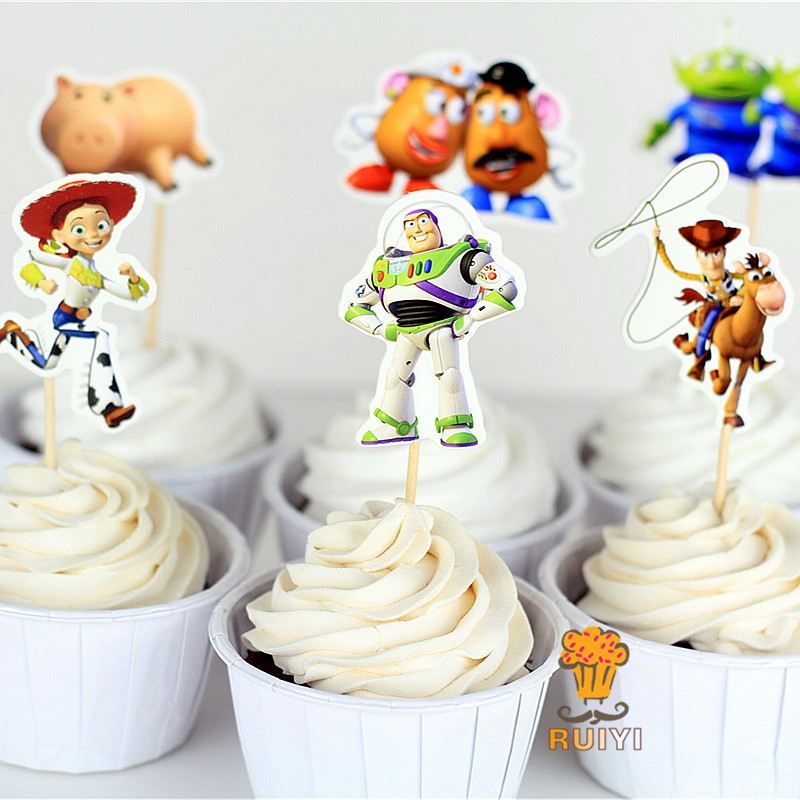 24pcs/bag Toy Story 4 Cake Card Fruit Plug-in Children Birthday Party Supplies Plugin 10CM