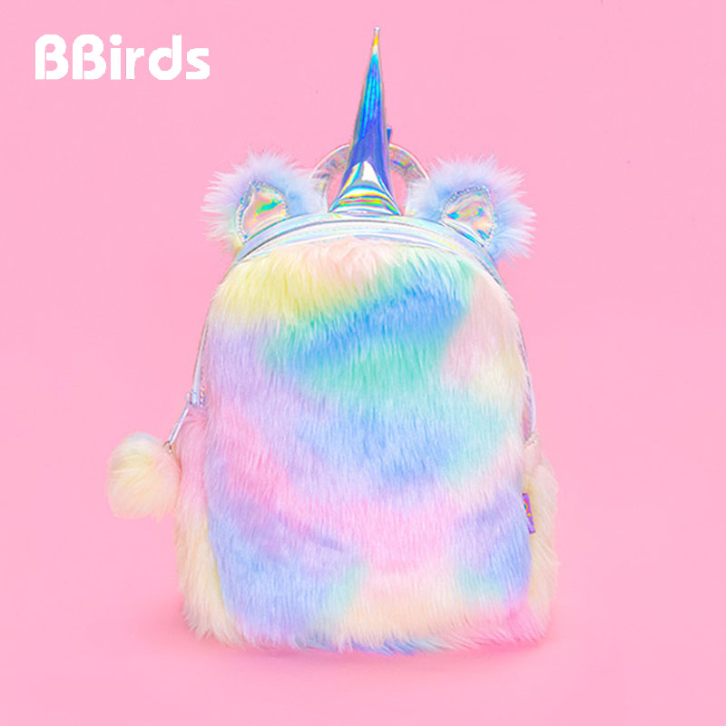 BBirds Hologram Women Leather Backpacks Unicorn Cute Small Unicornio Backpacks For Girls Mini Female Rucksack Plush Schoolbag