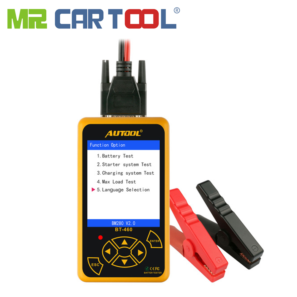 Mr Cartool BT460 автомобиля батарея тестер 12 В в В 24 ячейки анализатор автомобиля диагностический инструмент Свинцово-кислотная AGM TFT CCA красочные д...
