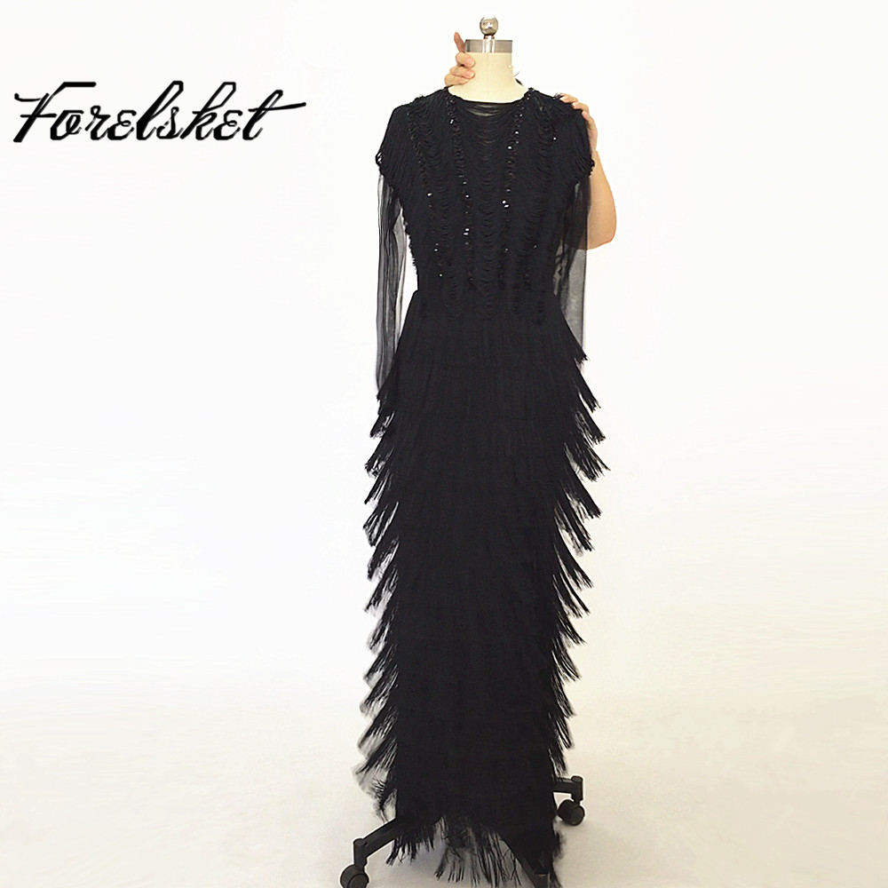 Sequined Long Mermaid   Evening     Dresses   Black 2020 Beading Crystals Formal Prom Party Gowns With Tassel Bling Bling Long Sleeves