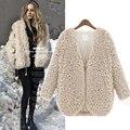2016 Winter Women Faux Fur Coat Casual Fleece Warm Long Sleeve V Neck Woman Fluffy Jacket Overcoat Outerwear