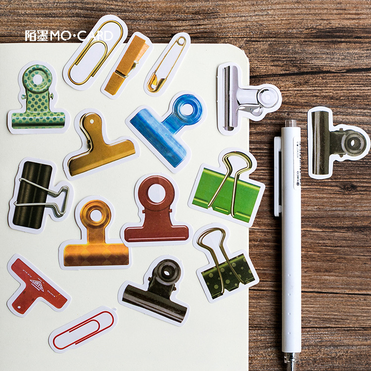 Creative Binder Clip Model Decorative Stickers Set Adhesive Stickers DIY Decoration Diary Stickers Box Package