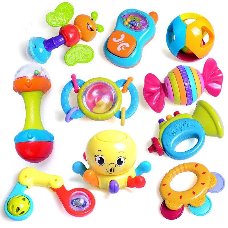 Bébé hochets nouveau-né bébé main cloche 3-6-12 mois jouet cadeau boîte 10