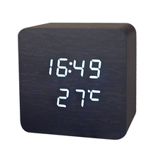 NEW Wooden Digital LED Desk Alarm Clock Thermometer Acoustic Control Sensing Clock desktop clock electronic
