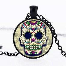 2017 New Sugar Skull Pendant Necklace Day of The Dead Necklace art pendant art charm handmade pendant sugar skull jewelry HZ1