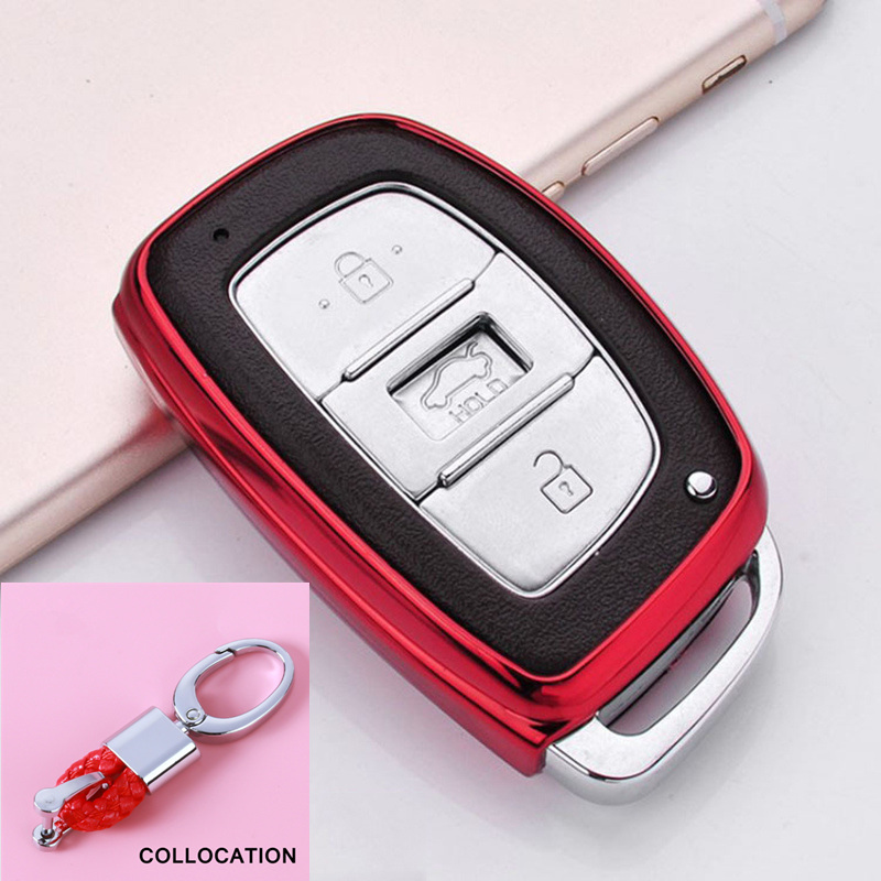 Wear Resistant Soft TPU Key Shell Cover Case For Hyundai IX25 IX35 I30 I40  Santa Fe Creta Solaris 2016 2017 Keychain Keyless