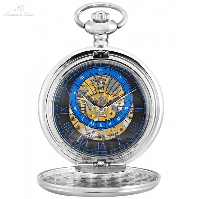 KS Retro Silver Case Antique Copper Roman Number Round Face Skeleton Hand-winding Mechanical Clock Vintage Pocket Watch /KSP119