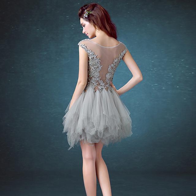 AXJFU pink lace evening dress Robe De Soiree Courte Cheap Short o-neck Evening Gowns lace Homecoming Dresses Vestidos De Fiesta